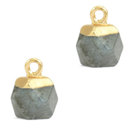 1 x Natuursteen hangers hexagon Fossil grey-gold Grey Cloudy Quartz