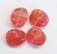 5x Glaskraal golvend rood gemeleerd 16 mm
