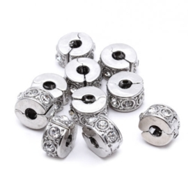European Jewelry Stoppers met bergkristal Silver Plated  10 x 5mm per stuk