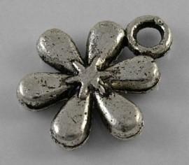 10 stuks tibetaans zilveren bedeltje bloem 13x11mm zilver of goud