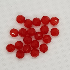 30 x Acryl facet kralen Rood 6mm