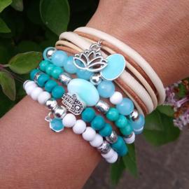 Armbandenset blauw wit ♥