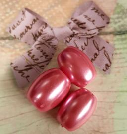 Per stuk glasparel ovaal roze 10mm x 8mm