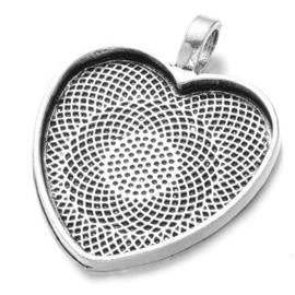 Houder hart antique zilver kleur binnenzijde c.a. 25 x 26mm