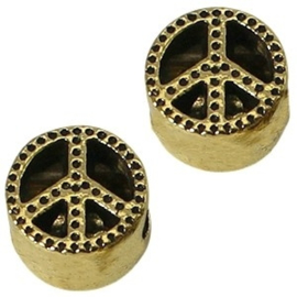 2 x Metalen Kraal Peace 11 mm Medium Antiek Goud Ø 4-5 mm