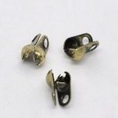 10 stuks gesloten mini kalotjes 4 x 2mm oogje 1mm zijwaarts geel koper (Binnenmaat c.a. 1,5mm)