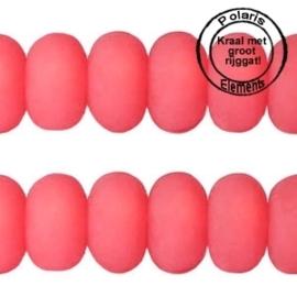 Per stuk Polaris kralen matt disc 8mm Paparacha roze groot gat 2,5mm