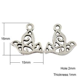 10x Tibetaans zilveren bedel van een vogel 16 x 15 x 1mm Gat: 2mm