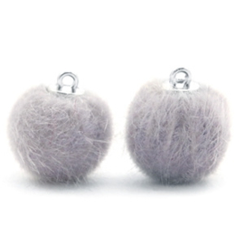2 x Pompom bedels faux fur 16mm Light grey