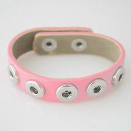 Armband leer roze 22 cm
