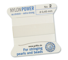 Griffin Nylon Power no stretch - extra strong 2 meter met naald  No: 2 Ø 0,45mm wit