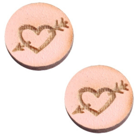 3 x Houten cabochon basic 12 mm heart&arrow Pink