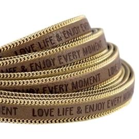 20 cm Quote imi leer 10mm met schakelketting goud Love life Taupe grijs