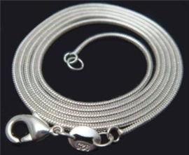 925 verzilverde snake ketting 2mm verschillende lengtes