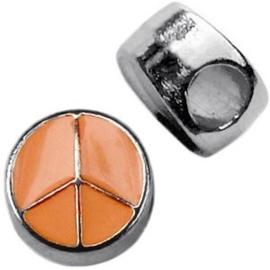 1x Metalen Schuiver Peace Zilver Oranje 10 mm Ø 4.0 mm
