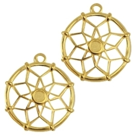 DQ metalen bedels dreamcatcher ca. 21 x 18mm  (voor Swarovski SS16 flatback) Antique goud kleur