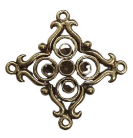Per stuk antiek goud kleurige metalen hanger/tussenzetsel 28 mm