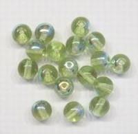 10 Stuks Glaskraal rond transparant groen AB 6 mm