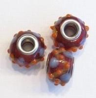Per stuk Glaskraal met metaal  European-style Rood/oranje 14 mm