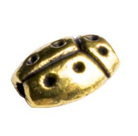 20 x metalen kraal lieveheersbeestje goudkleur 8 x 3mm gat 1mm