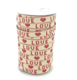 1 meter love lint creme-rood 10mm