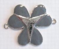 Per stuk Zilverkleurig metalen tussenzetsel Klaver Grijs 33 mm