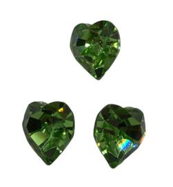 2x Precosia kristal in de vorm van een hart Groen 10 mm