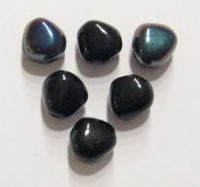 10 Stuks Glaskraal hoekig rond zwart met olie-glans  9 mm