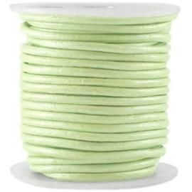 50cm DQ Leer rond 2 mm Tender lime green metallic
