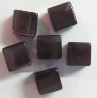 10 x Glaskraal kubus cate-eye 8mm donker Amethist
