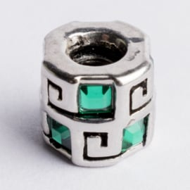 Be Charmed kraal zilver met een rhodium laag (nikkelvrij) c.a.10x 9.6mm groot gat: 4mm