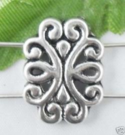 Prachtige Tibetaans zilveren  verdeler tussenzetsel kraal 18 x 14mm 2 strengen