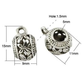 Prachtige Tibetaans zilveren bails hanger bali style 9 x 15 x 11mm Ø 5mm, het oogje is 1,5mm vlinder