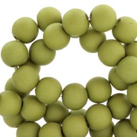 40 x 6 mm acryl kralen mat Olive green
