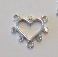 Per stuk Luxe metalen hanger hart met strass 19 mm