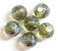Per stuk Glaskraal facet kristal Smoked Topaaz met mooie glans 8 mm