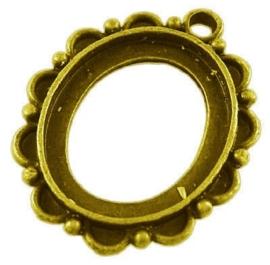 2 x Houder I:  Prachtige Camée of cabochon houder goudkleur. Binnenzijde: 18 x 23mm