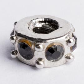 Be Charmed kraal zilver met een rhodium laag (nikkelvrij) c.a.11x 5mm groot gat: 4mm
