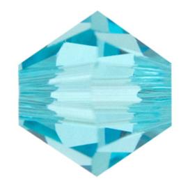 30x preciosa kristal bicone  blauw 5 mm Gat: 1 mm