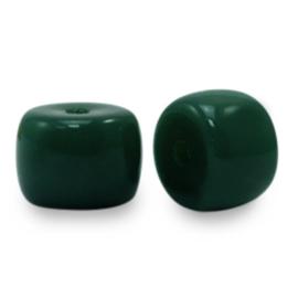 20 x rondellen glaskralen Dark Green  6mm