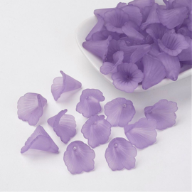 10 x prachtige acryl bloem kelk 20 x 20 x 2mm gat: 1,5mm medium purple