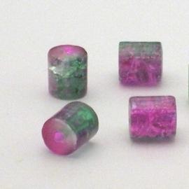 30 stuks crackle glas kralen cilinder vorm 7 x 8mm groen roze
