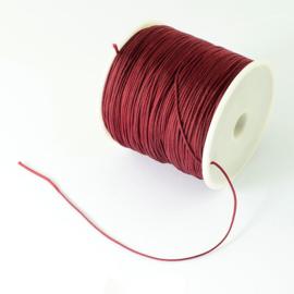 1 rol 90 meter gevlochten nylon koord, imitatie zijden draad 0,8mm dark red