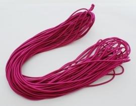 8 meter rond elastisch koord van rubber voorzien van een laagje stof 1mm fuchsia