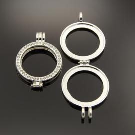 Metalen hanger voor munt met strass tray 32mm Zilverkleur