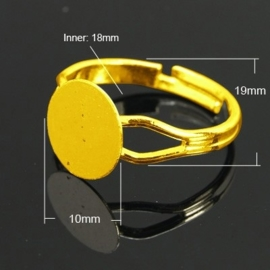 Verstelbare basis ring, diameter c.a.18mm , maat van de ringdop: 10mm Goudkleur
