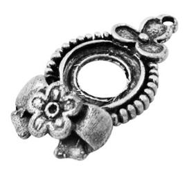 Houder P: Prachtige Camée of Cabochon houder oud zilver. Binnenzijde: 13mm