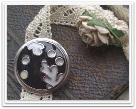 Per stuk Mooie Metalen zilveren drukker met zwart/witte epoxy 18 mm