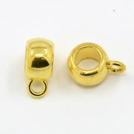4 x Tibetaans zilveren bails hanger 11,5 x 8 x 5,5mm Ø4,8  oogje: 2mm Goud kleur