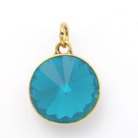 Geboorte steen hanger prachtig kristal facet 18 x 12mm - December Turquoise Goudkleur